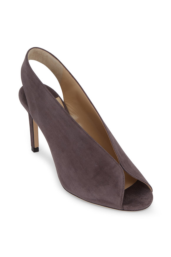 Jimmy Choo Shar Smoke Suede V-Neck Slingback, 85mm