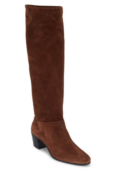 Prada - Brown Suede Slouchy Tall Boot, 45mm
