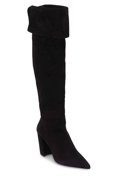 Prada - Black Suede Over-The-Knee Boot, 85mm