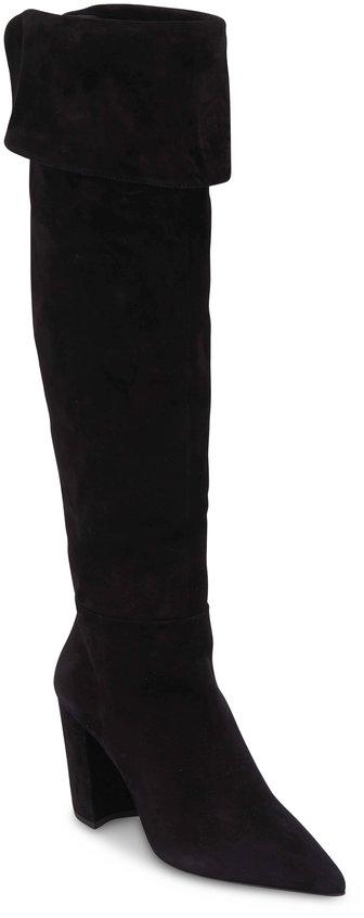 Prada Black Suede Over-The-Knee Boot, 85mm