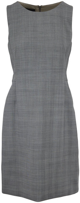 Akris Black & Swan Glen Plaid Sleeveless Dress