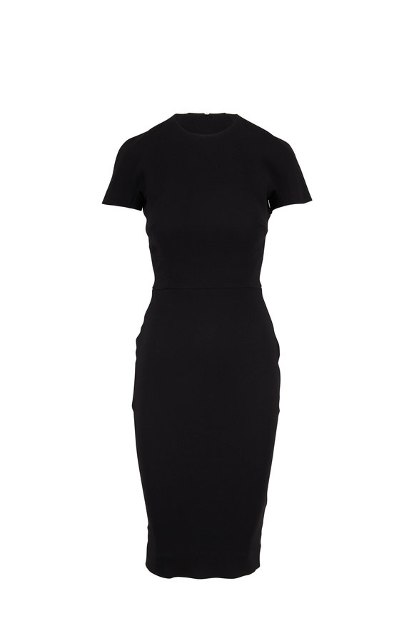 Victoria Beckham Black Bonded Crepe Short Sleeve Dress