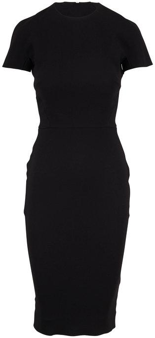 Victoria Beckham Black Bonded Crepe Short Sleeve Dress