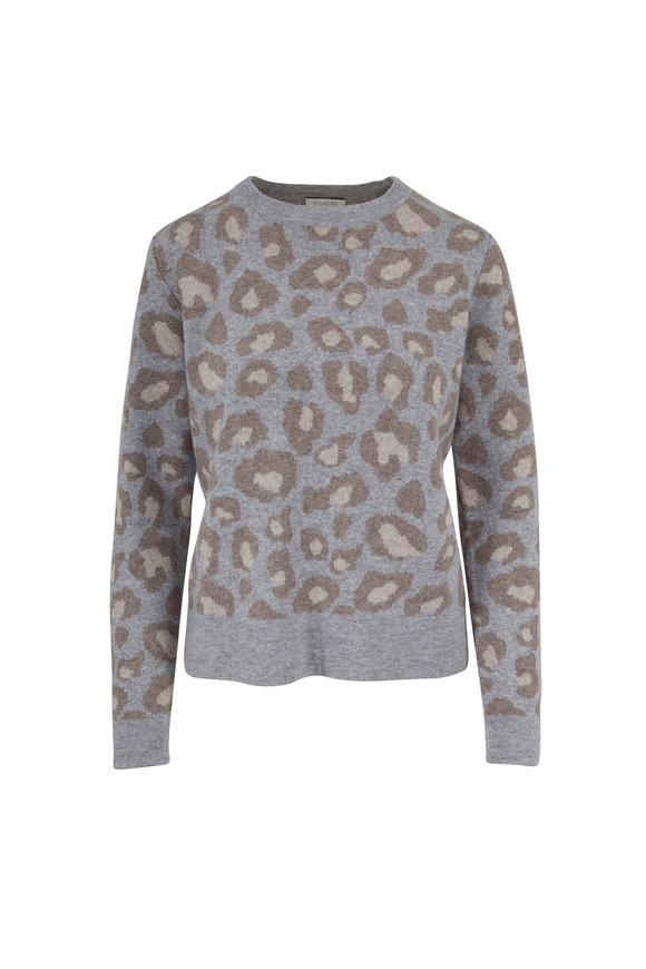 Kinross Sterling Leopard Print Cashmere Reversible Sweater