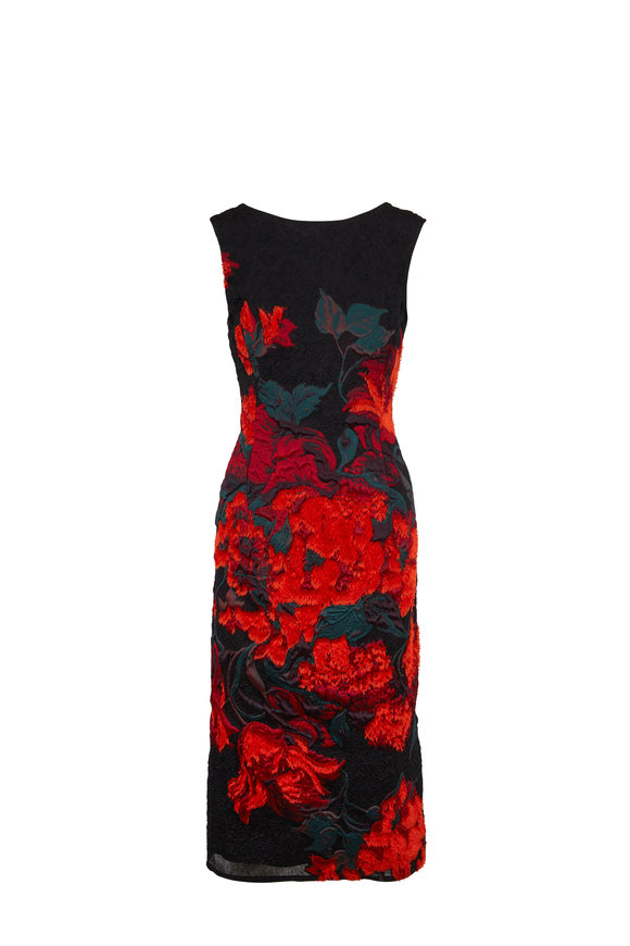 Oscar de la Renta Black & Orange Fil Coupe Sheath Sleeveless Dress