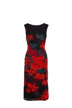Oscar de la Renta - Black & Orange Fil Coupe Sheath Sleeveless Dress