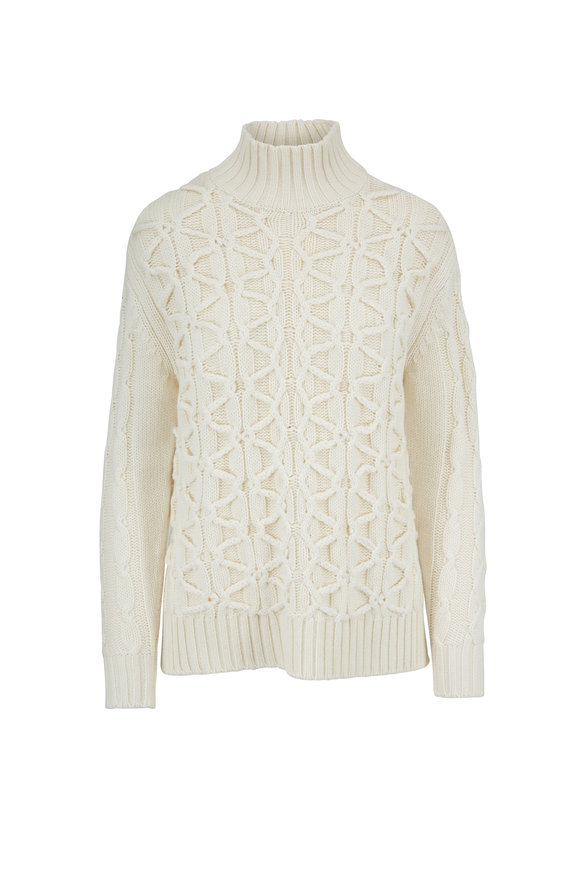 Lela Rose Ivory Modern Cable Knit Mockneck Sweater