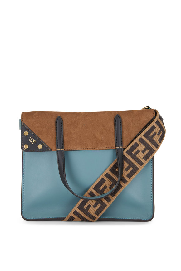 Fendi Blue Leather & Brown Suede Guitar Strap Flip Bag