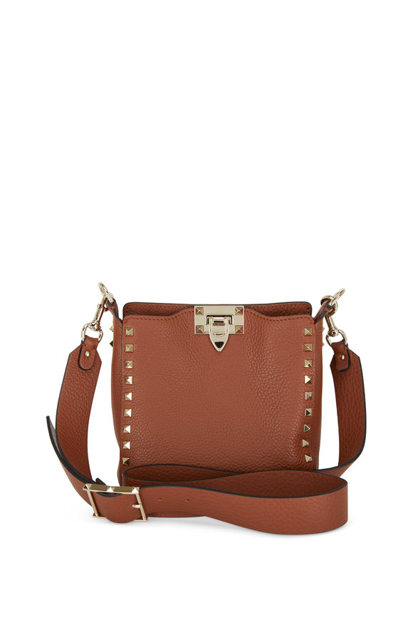 Valentino Garavani Rockstud Cognac Leather Mini Hobo Crossbody