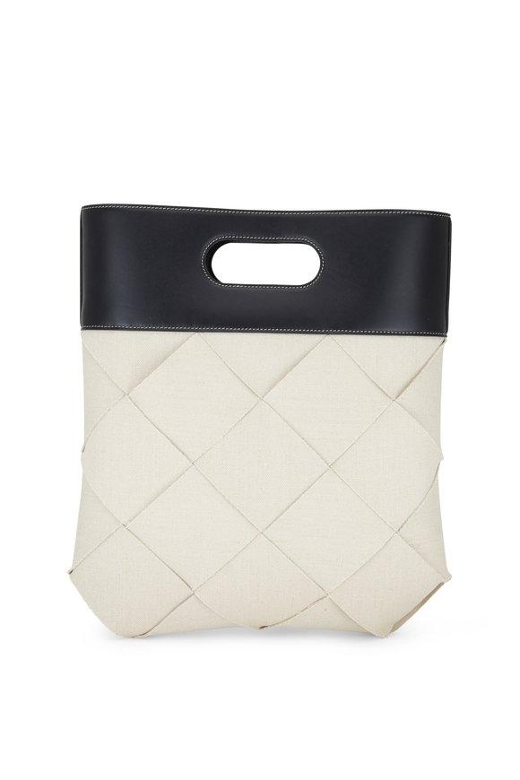 Bottega Veneta Natural & Black Woven Linen Top Handle Bag
