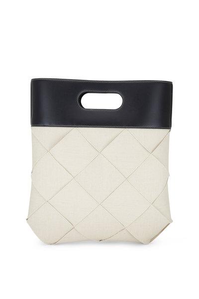 Bottega Veneta - Natural & Black Woven Linen Top Handle Bag