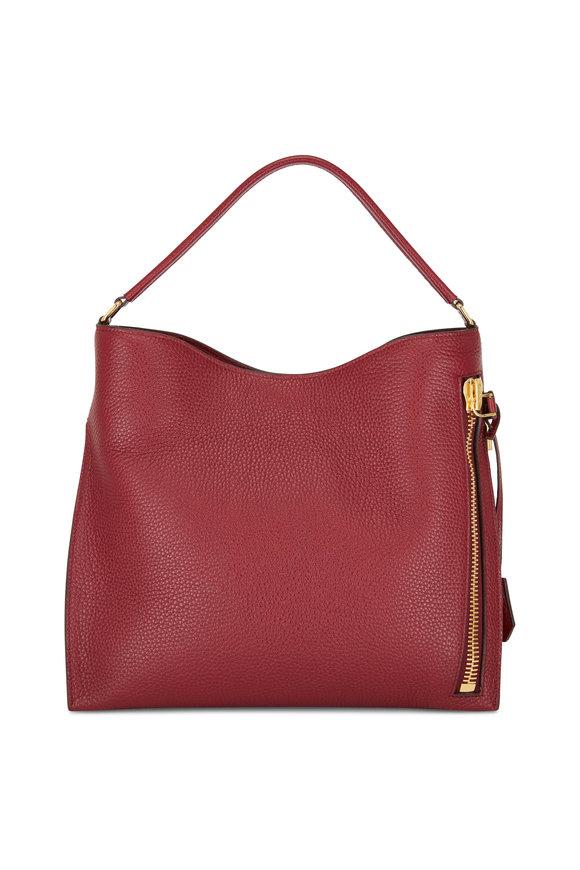 Tom Ford Alix Garnet Grained Leather Small Hobo Bag