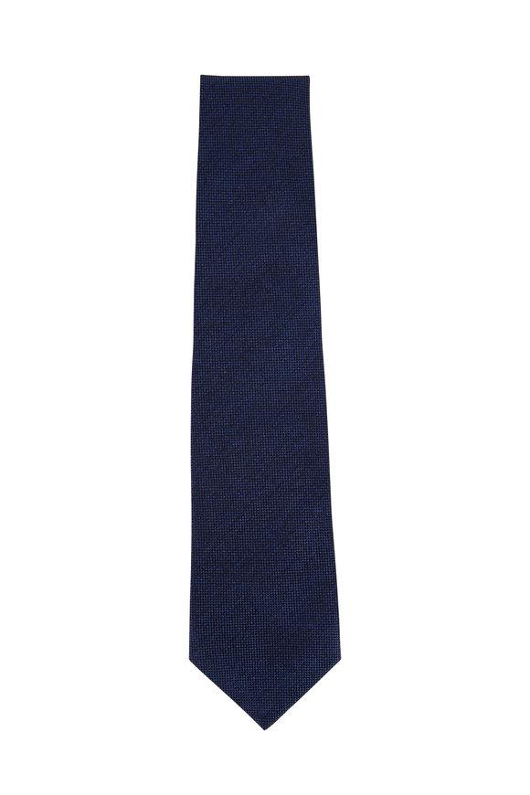 Isaia Bright Blue Textured Solid Necktie