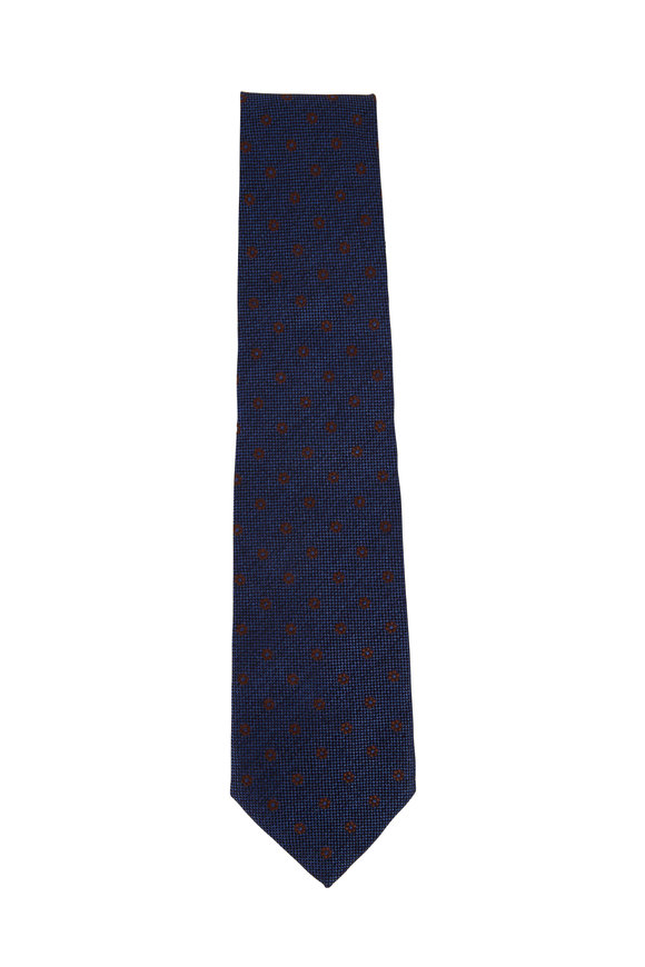 Isaia Bright Blue & Brown Flower Print Necktie