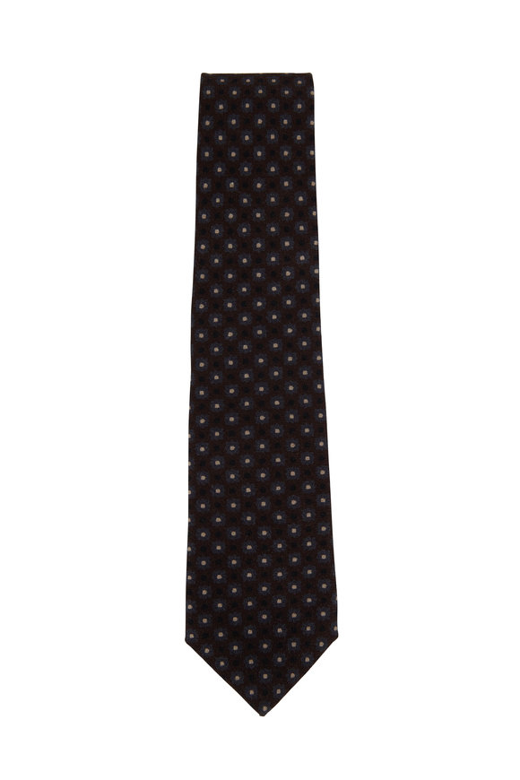 Isaia Brown & Gray Medallion & Dot Print Necktie