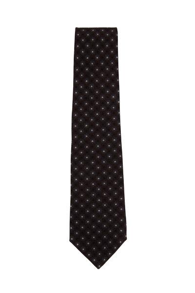 Isaia - Brown & Gray Medallion & Dot Print Necktie