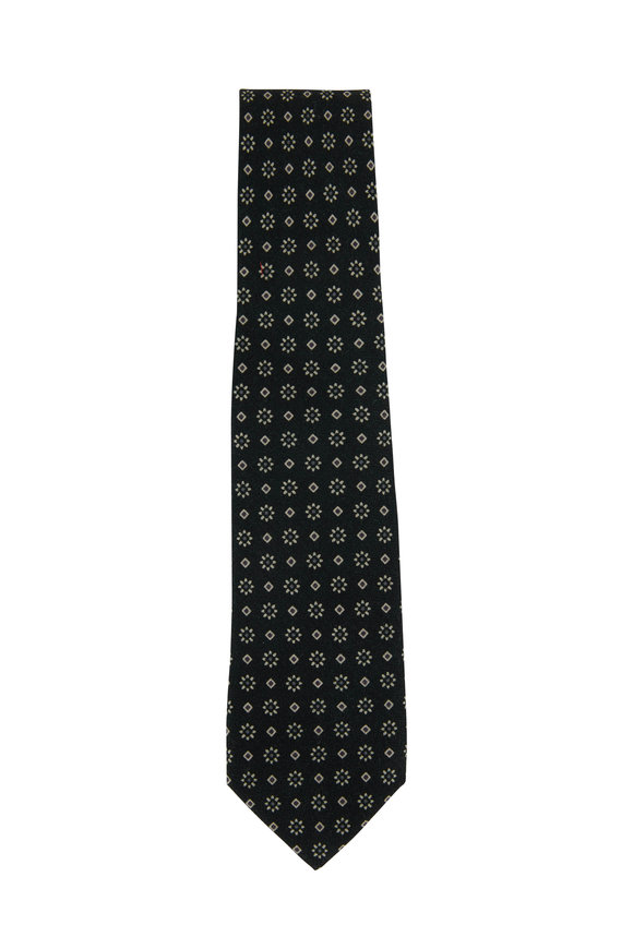 Isaia Green & Tan Flower Print Necktie