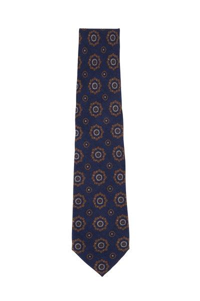Isaia - Blue & Tan Medallion Print Necktie