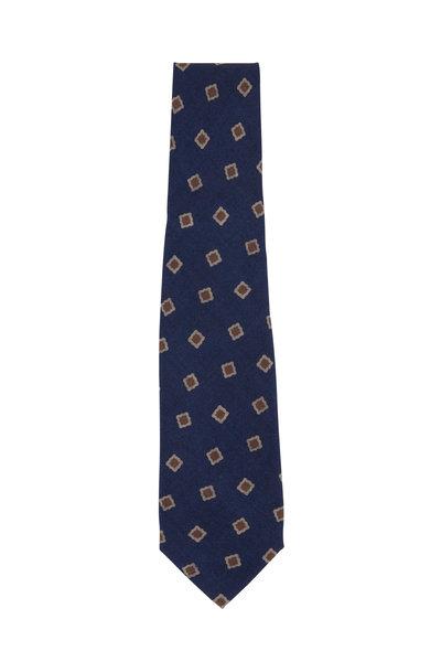Isaia - Navy & Taupe Medallion Print Necktie
