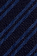 Ermenegildo Zegna - Navy & Royal Blue Striped Silk Necktie