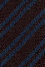 Ermenegildo Zegna - Brown & Blue Striped Silk Necktie