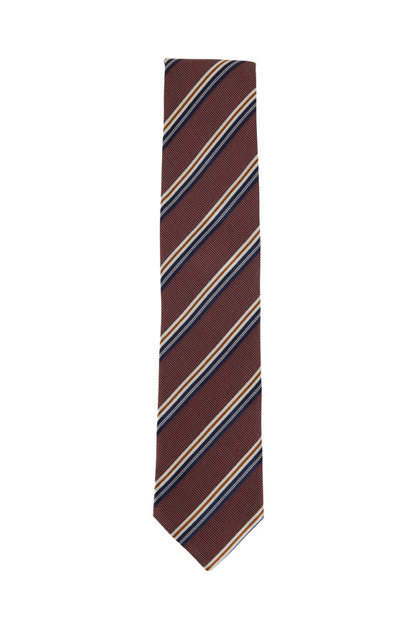 Eton Burgundy, Navy & White Striped Silk Necktie
