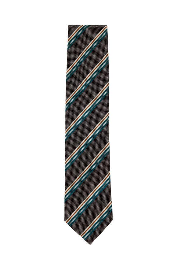 Eton Wine, Teal & Rust Striped Silk Necktie