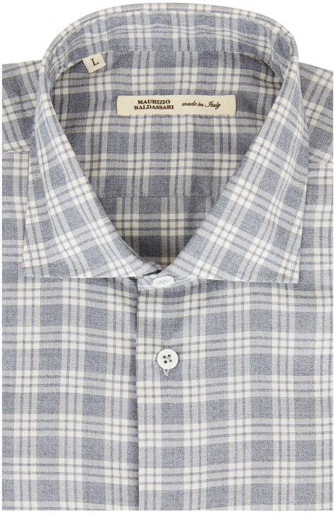 Maurizio Baldassari Gray Plaid Sport Shirt