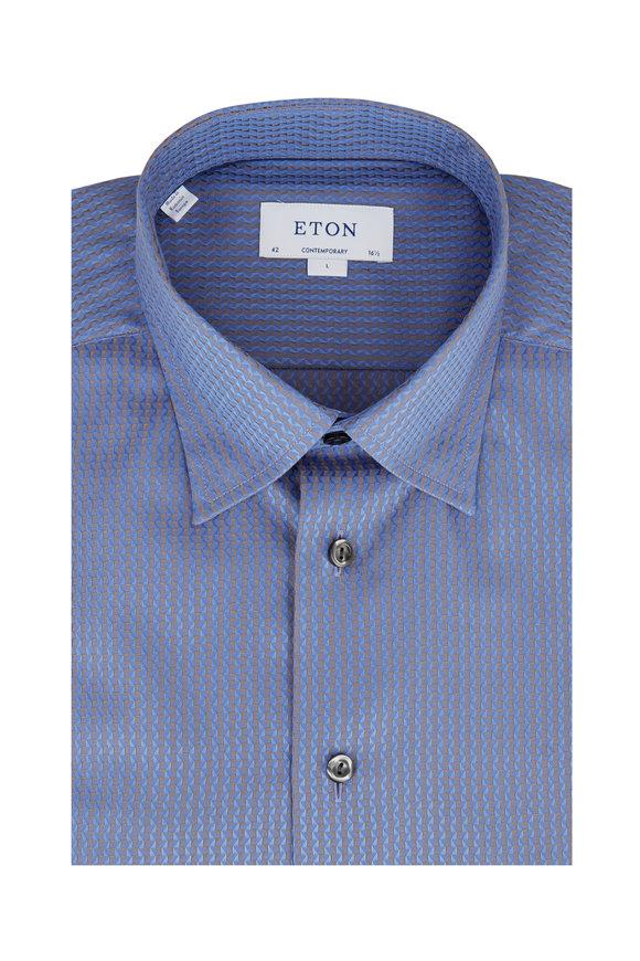 Eton Light Blue Geometric Contemporary Fit Dress Shirt