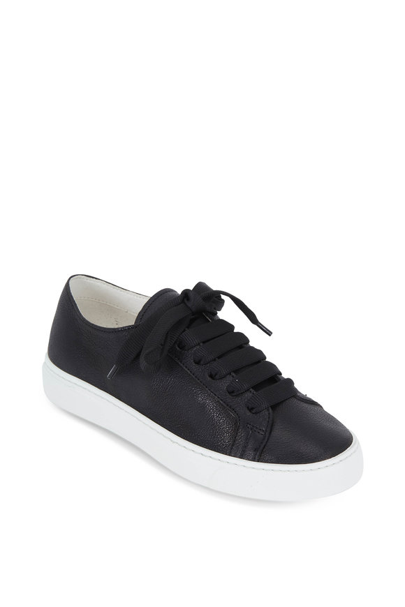 To Boot New York Women Emma Black Cervo Leather Lace-Up Sneaker