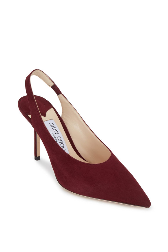 Jimmy Choo Ivy Bordeaux Suede Slingback, 85mm