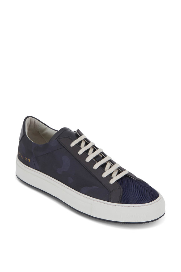 Common Projects Achilles Navy Blue Camo Canvas Low Top Sneaker