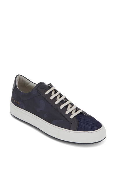 Common Projects - Achilles Navy Blue Camo Canvas Low Top Sneaker