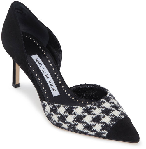 Manolo Blahnik Taylerbica Black Houndstooth D'Orsay Pump,70mm