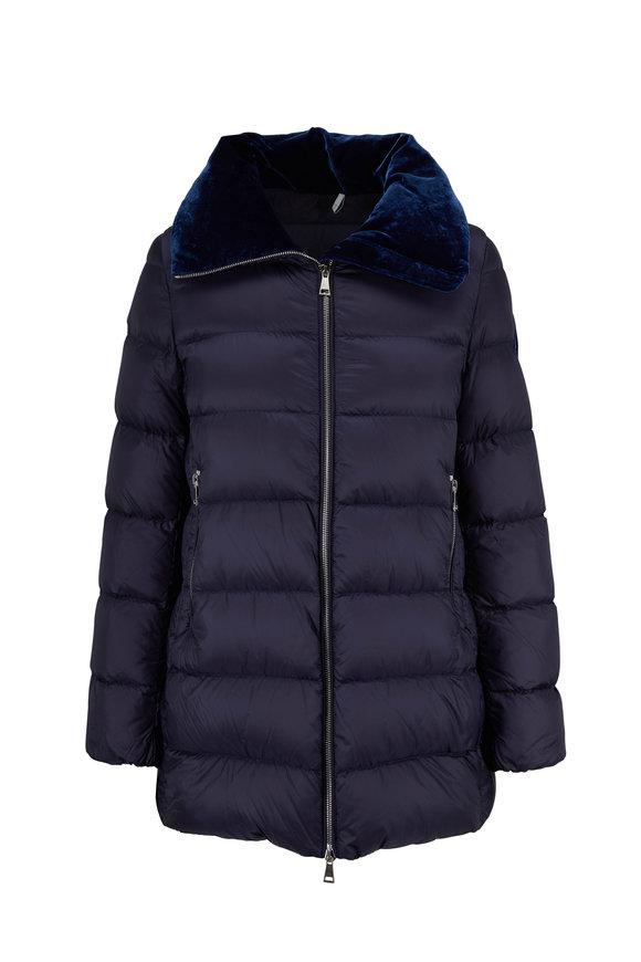 Moncler Torcon Royal Blue Velvet Collar Puffer Coat