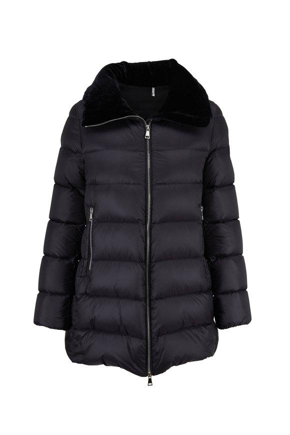 Moncler Torcon Black Velvet Collar Puffer Coat