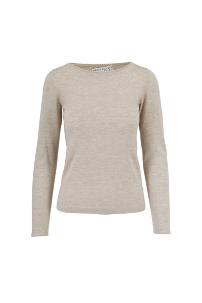 Brunello Cucinelli - Sand Cashmere & Lurex Boatneck Long Sleeve T-Shirt