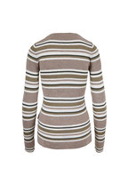 Brunello Cucinelli - Sand Wool & Lurex Striped Long Sleeve T-Shirt