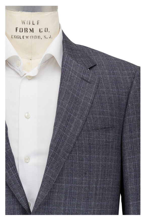 Canali Gray Glen Plaid Wool Suit