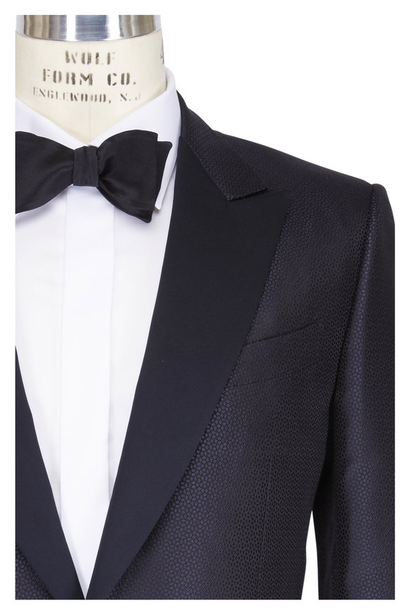 Ermenegildo Zegna Navy Scaled Tonal Jacquard Dinner Jacket