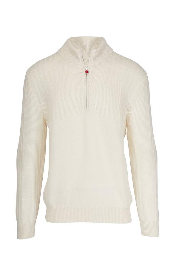 Kiton Cream Cashmere Quarter-Zip Pullover