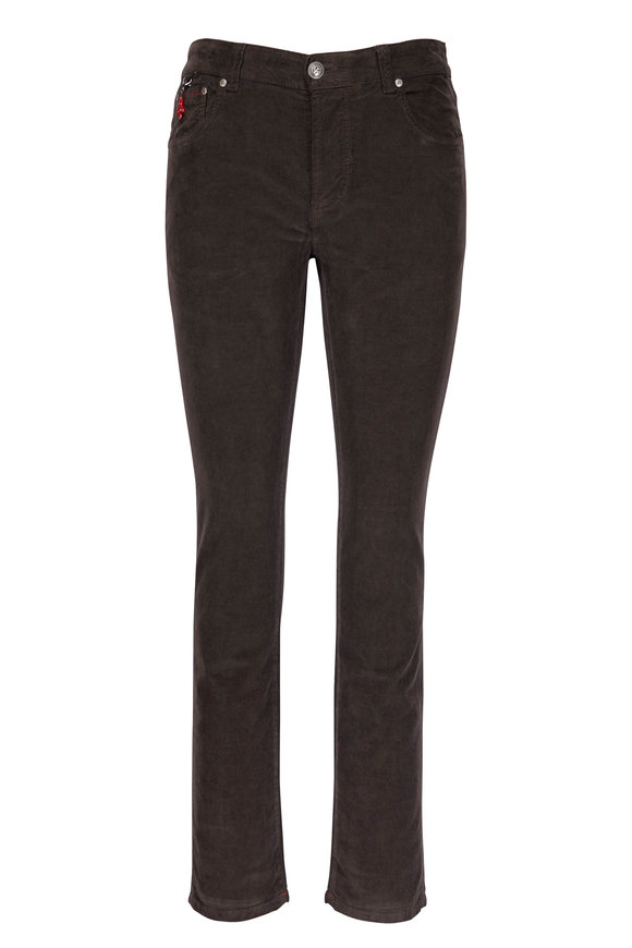 Isaia Dark Brown Corduroy Slim Pant