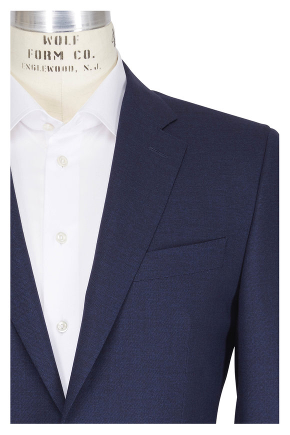 Canali Impeccable Navy Blue Wool Micro Check Suit