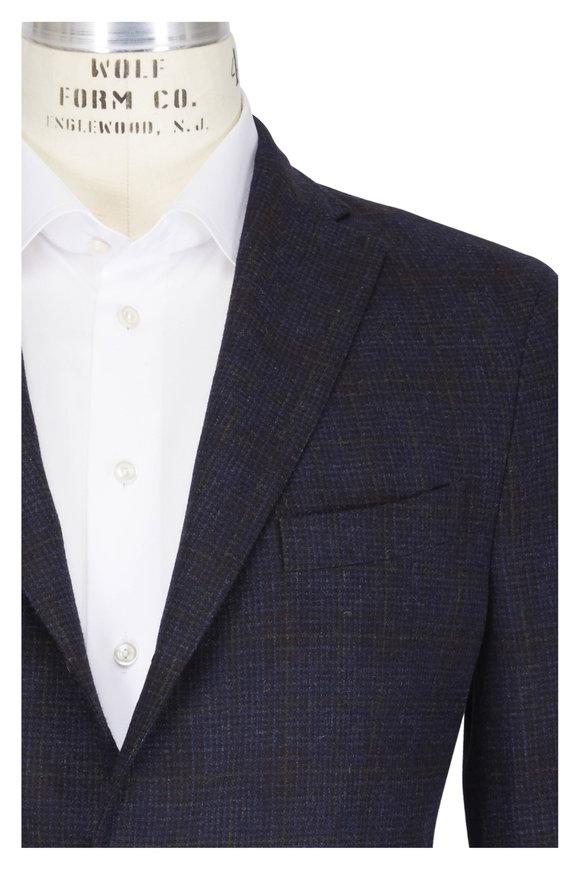 Boglioli Navy Blue Wool & Cashmere Tartan Sportcoat
