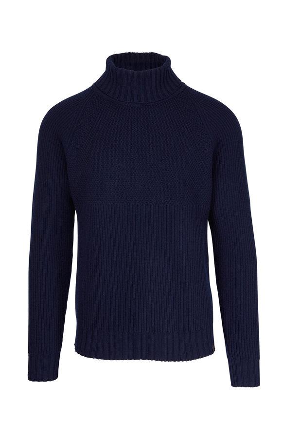 Belstaff Marine Navy Blue Virgin Wool Turtleneck