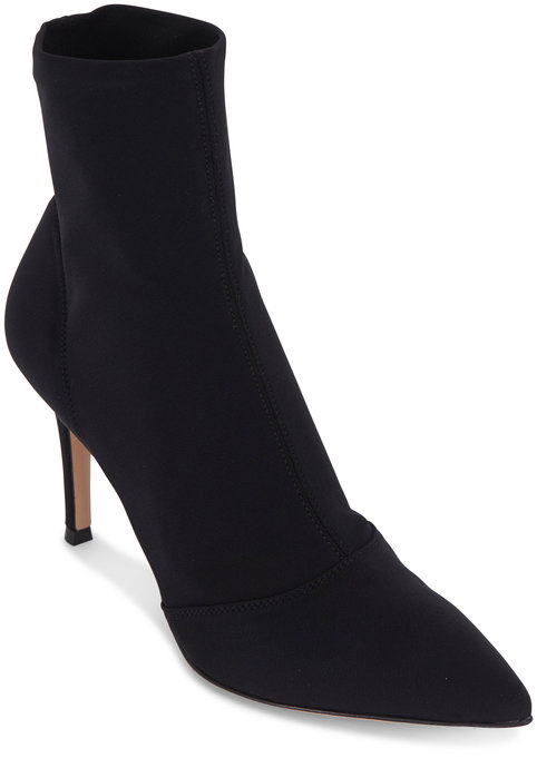 Gianvito Rossi Elite Osaka Black Sock Bootie, 85mm