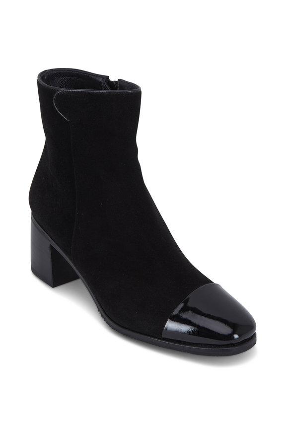 Gravati Black Suede & Patent Cap-Toe Short Boot, 50mm