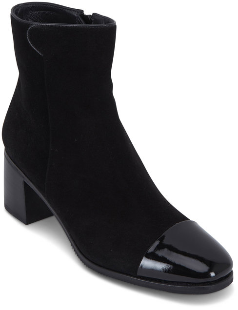 Gravati Black Suede & Patent Cap-Toe Short Boot, 50mm