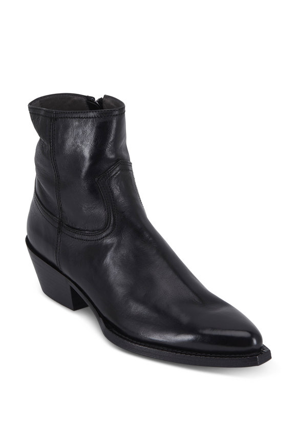 To Boot New York Women Audrey Black Leather Western Boot, 45mm