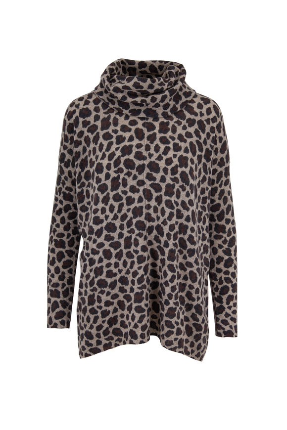 Kinross Tan Cashmere Leopard Print Sweater